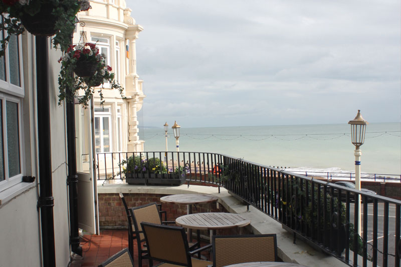 View from the balcony at the Crown & Anchor pub in Eastbourne